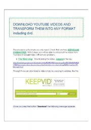 English Worksheet: TUTORIAL!!!! Part 1 How to convert youtube videos into any format including dvd .