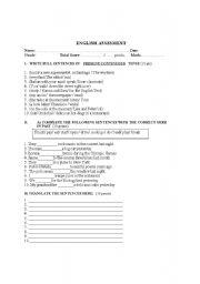 English Worksheets: ENGLISH ASSESMENT