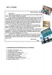 English Worksheet: reading true false questions