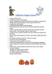 English Worksheet Halloween Tongue Twisters