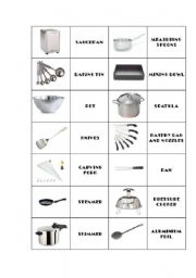 English Worksheet: Kitchen utensils domino 2