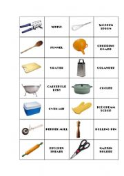 English Worksheet: Kitchen utensils domino 1