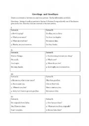 English Worksheets: Greetings and Goodbyes