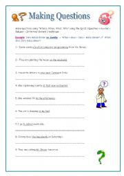 English Worksheets: Making Questions