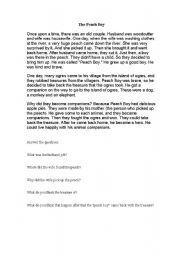 English worksheet: The peach boy