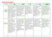 English Worksheet: WRITING RUBRIC
