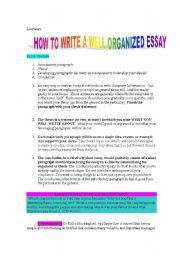 English Worksheets: HOW TO WRITE A WELL ORGANIZED ESSAY (especially for Literature)