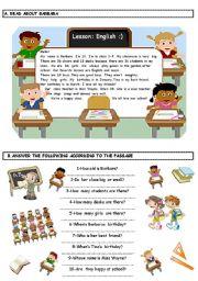 English Worksheets: Reading Activity