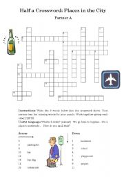 half a crossword places in the city 1 of 3 esl worksheet by pennybarker. Black Bedroom Furniture Sets. Home Design Ideas