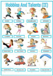 English Worksheets: Hobbies And Talents  ( II )