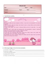 English Worksheet: Test - Hello Kitty�s Family