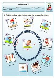 English Worksheet: CARDINAL NUMBERS - 1 TO 10