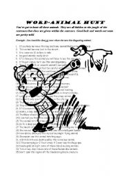 English Worksheets: Word Animal Hunt