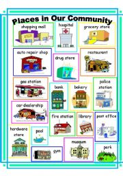 English Worksheet: Community places Vocabulary