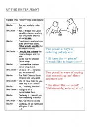 At The Restaurant Esl Worksheet By Maresia
