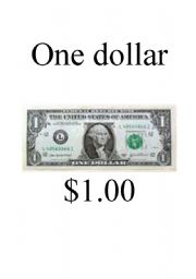 Money Flashcards - U.S. Currency (dollar bills)
