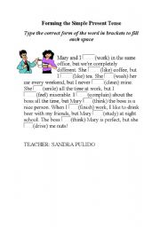 English worksheet: SIMPLE PRESENT