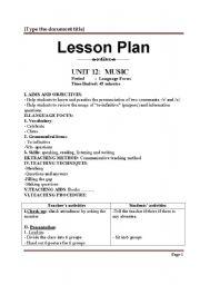 English teaching worksheets: Lesson plans