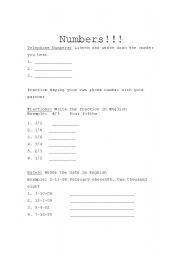 English worksheet: Writing Numbers