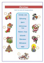English Worksheet: christmas vocabulary matching