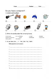English Worksheets: Do you have .....?