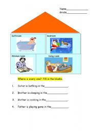 English worksheet: Room in a house