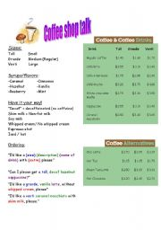 English Worksheet: Coffee Shop Talk
