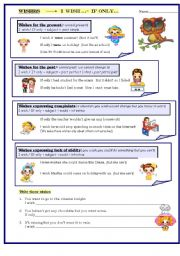 English Worksheet: Wishes: present, past, ability, complaint