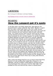 English Worksheets: How the Leopard got it�s spots