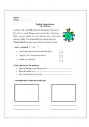 English Worksheets: Animals� homes: Reading Comperhension