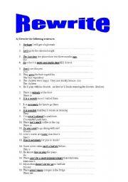 English Worksheets: Rewrite the sentences