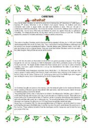 English Worksheet: CHRISTMAS TRADITIONS TEXT AND A CAROL