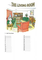 English Worksheets The Living Room