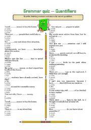 English Worksheet: GRAMMAR QUIZ --- QUANTIFIERS