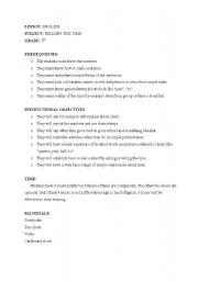 English Worksheets: lesson plan1