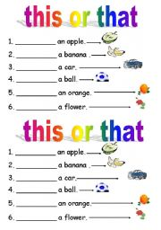 English Worksheets: this or that