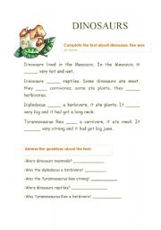 English Worksheets: TO BE DINOSAURS