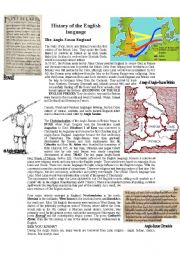 English Worksheet: THE HISTORY OF THE ENGLISH LANGUAGE - ANGLO-SAXON ENGLAND