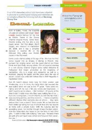 English Worksheet: Demi lovato -- Disney�s rising star  - another case of Bullying at school