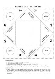 English Worksheet: Cootie Catcher: Paper game