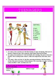 English Worksheet: Teenagers-clothes and descriptions