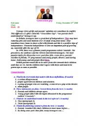 English Worksheets: Generation conflict:  a reading comprehension test .
