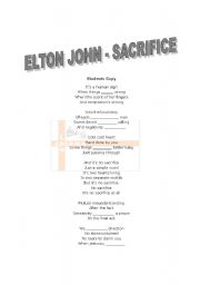 English Worksheets: Elton John - Sacrifice
