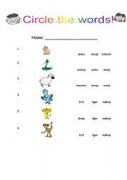 English Worksheets: Circle the word(Animals)