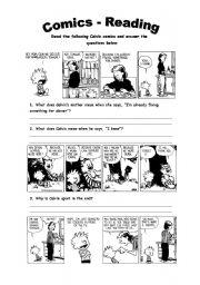 English Worksheets: Comics - Reading Activity
