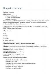 Reading Comprehension Worksheet - Respect