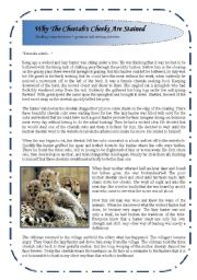 English Worksheet: Reading comprehension + grammar and writing exercise : Why the cheetah´s cheeks are stained