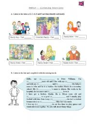 English Worksheet: Listening Test - Family