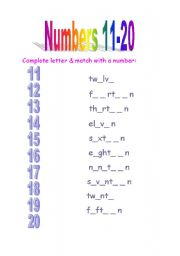 Numbers 11-20 - letters completing