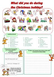 English Worksheet: What did you do during the Christmas holiday?